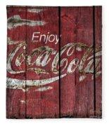 Coca Cola Sign Barn Wood Fleece Blanket