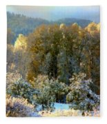 First Snow And Bosque Glow Fleece Blanket