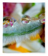 Friendly Company Of Rain Droplets On A Flower Cereal Fleece Blanket