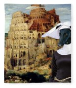 Galgo Espanol - Spanish Greyhound Art Canvas Print -the Tower Of Babel  Fleece Blanket