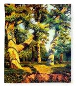Green Summer-the Oak Forest Fleece Blanket