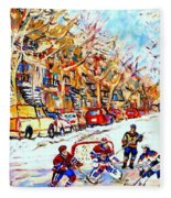 Hockey Game On Colonial Street  Near Roy Montreal City Scene Fleece Blanket