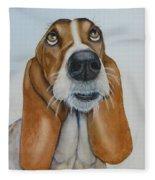 Hound Dog Eyes Fleece Blanket