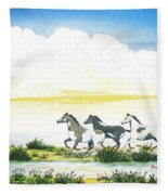 Indian Ponies Fleece Blanket