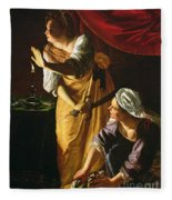 Judith And Maidservant With The Head Of Holofernes Fleece Blanket