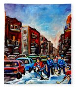 Late Afternoon Street Hockey Fleece Blanket
