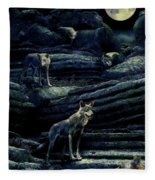 Moonlit Wolf Pack Fleece Blanket