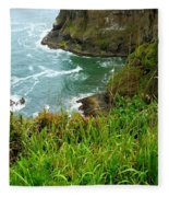 Oregon's Seaside Cliffs In Springtime Fleece Blanket
