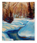 Peaceful Winding Stream Fleece Blanket
