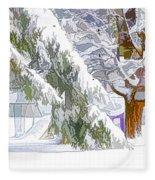 Pine Branch Tree Under Snow Fleece Blanket