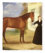 Portrait Of A Lady With Her Horse Fleece Blanket
