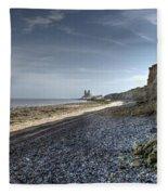 Reculver From Bishopstone Beach Fleece Blanket