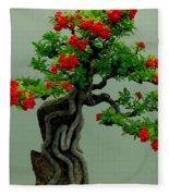 Red Berried Bonsai Fleece Blanket