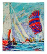 Sail Of Amsterdam II - Tree Sailboats  Fleece Blanket