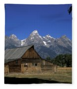South Moulton Barn Grand Tetons Fleece Blanket