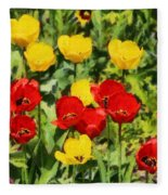 Spring Landscape With Tulips Fleece Blanket