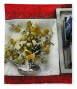 Table Settings At Time Of A Meal Fleece Blanket