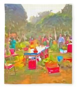 Tables And Chairs At An Exhibition Fleece Blanket