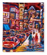 The Night Life On Crescent Street Fleece Blanket