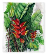 Tiger Claw .. Heliconia Fleece Blanket