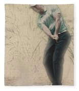 Tiger Woods Hits From A Access Road Fleece Blanket