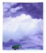Tree Clouds Hill Fleece Blanket