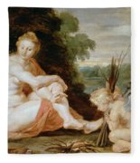 Venus And Cupid Warming Themselves  Fleece Blanket