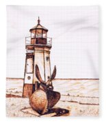 Vermilion Lighthouse Fleece Blanket