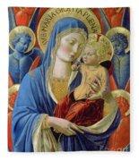 Virgin And Child With Angels Fleece Blanket