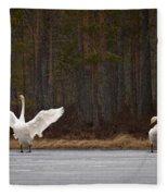 Whooper Swans 2 Fleece Blanket