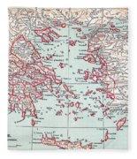 Map: Ancient Greece Fleece Blanket