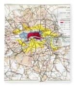 Map Of London, 1881 Fleece Blanket