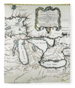 Great Lakes Map, 1755 Fleece Blanket