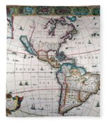 New World Map, 1616 Fleece Blanket