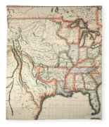 Map: United States, 1820 Fleece Blanket
