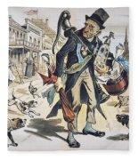 Prohibition  Cartoon, 1889 Fleece Blanket