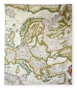 Map Of Europe, 1623 Fleece Blanket