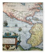 New World Map, 1570 Fleece Blanket