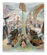 Business Cartoon, 1904 Fleece Blanket