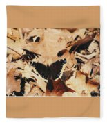 #002 Nymphalis Antiopa, Mourning Cloak Camberwell Beauty Large Butterfly Anglewing Fleece Blanket