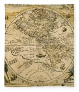 W. Hemisphere Map, 1596 Fleece Blanket