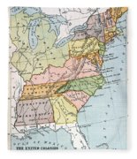 United States Map, C1791 Fleece Blanket