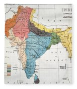 India: Map, 19th Century Fleece Blanket