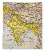 Asia Map, 19th Century Fleece Blanket