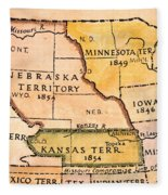 Kansas-nebraska Map, 1854 Fleece Blanket