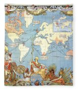 Map: British Empire, 1886 Fleece Blanket