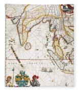 South Asia Map, 1662 Fleece Blanket