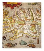 Iceland: Map, 1595 Fleece Blanket