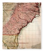 Colonial America Map, 1733 Fleece Blanket