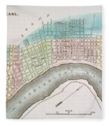 New Orleans Map, 1837 Fleece Blanket